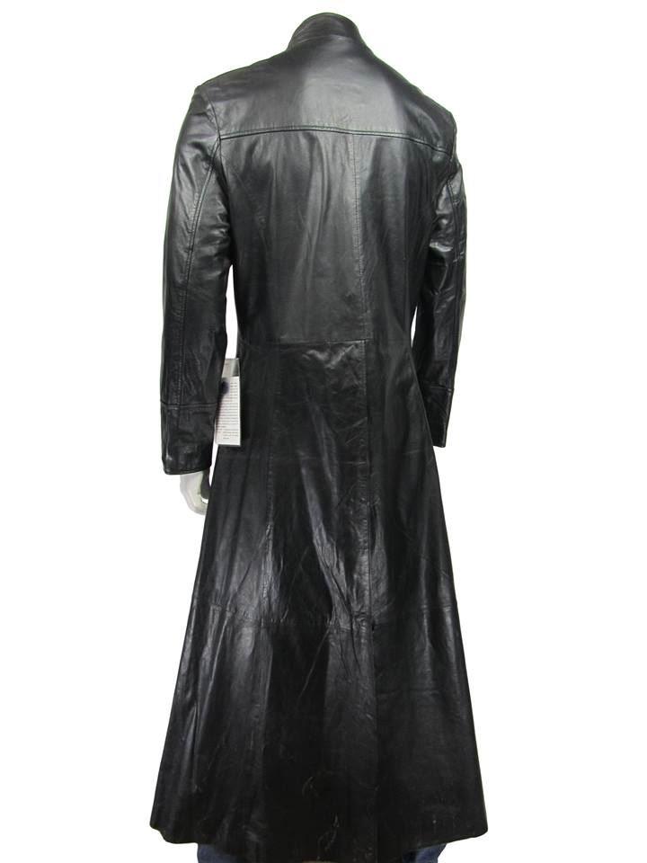 f70ba8efdb2cf Men Long Black Napa Classic Fashion Biker Leather Matrix Jacket Neo ...