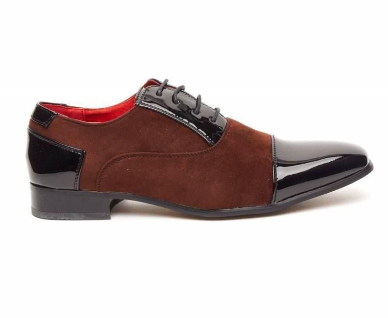 Rossellini Harry Scarpe da uomo nero in finta pelle lucida marrone scarpa casual a punta vc90D5ev