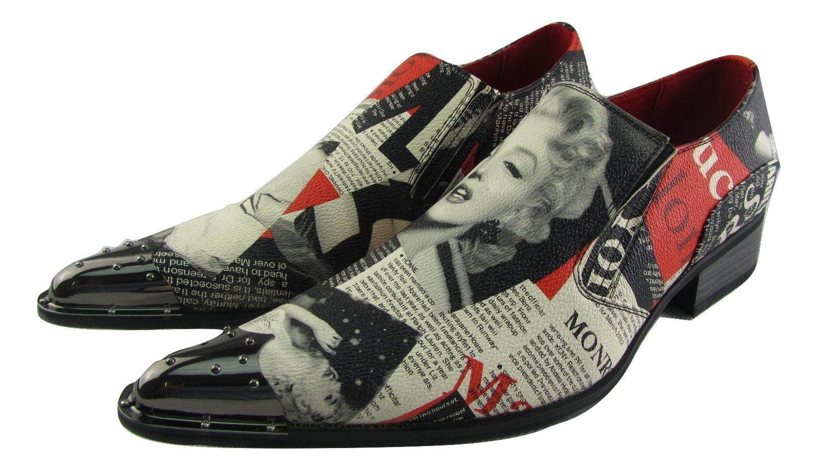 NUOVO Rossellini Marilyn DA UOMO IN PELLE FODERATO Scarpe a Punta MULTICOLOR notizie Rock Scarpe classiche da uomo