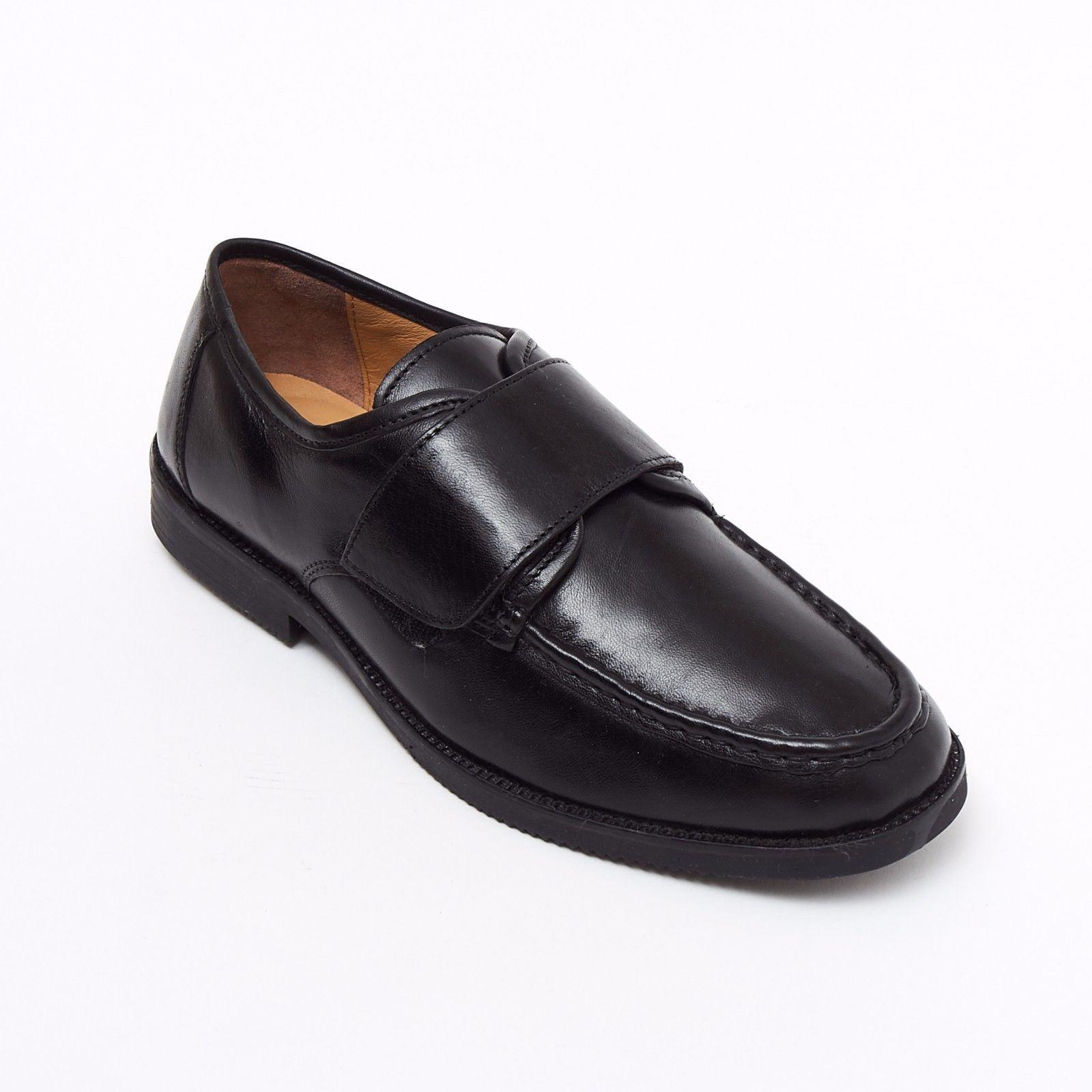 Formal Men Black Leather Heels Smart Shoes Slip On Wedding Loafer