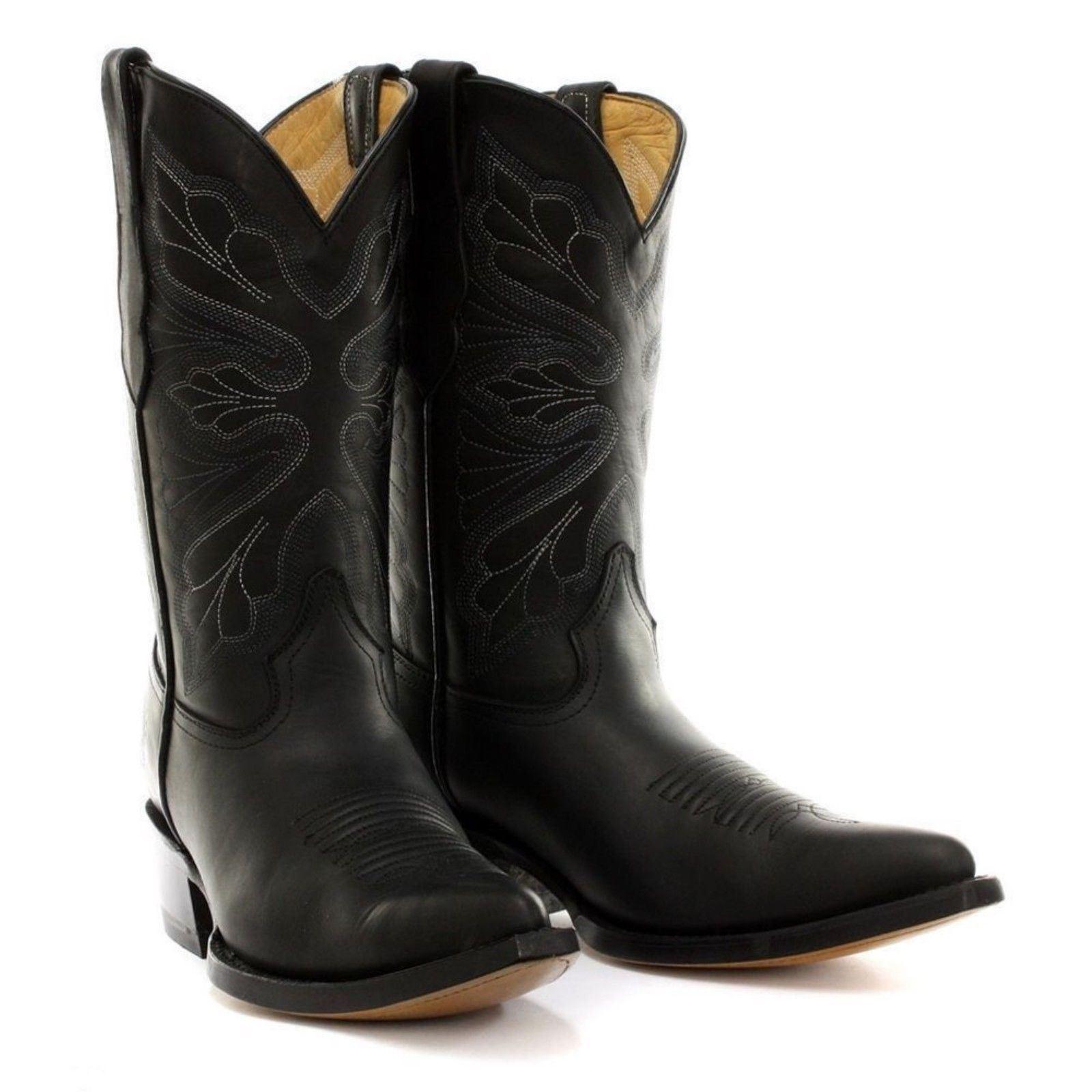 Stivali Cowboy Dallas da pelle Grinders in Grinders Western donna Black 6fwqr68nOx