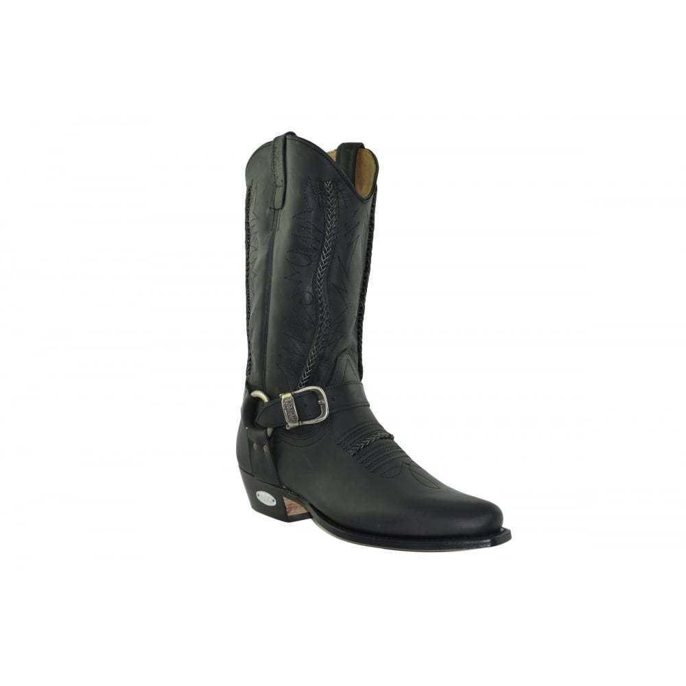 Loblan 2476 nera in pelle cerosa Stivali Da Cowboy Hand Made Classic Unisex Western
