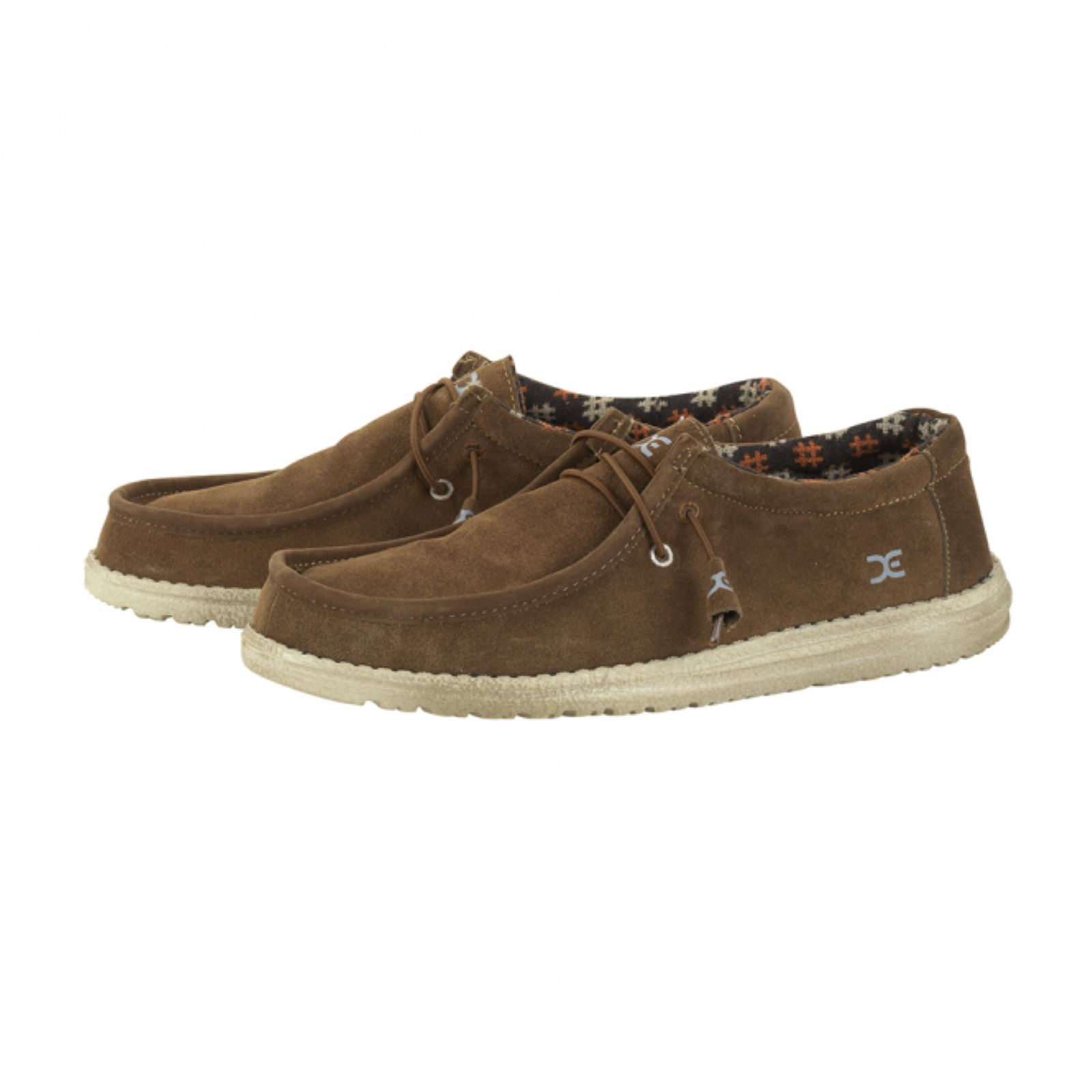 Hey Dude 2 Eye hommes Chaussures Wally Brown Nut Suede Lace Up Mule Leather Lined Insole