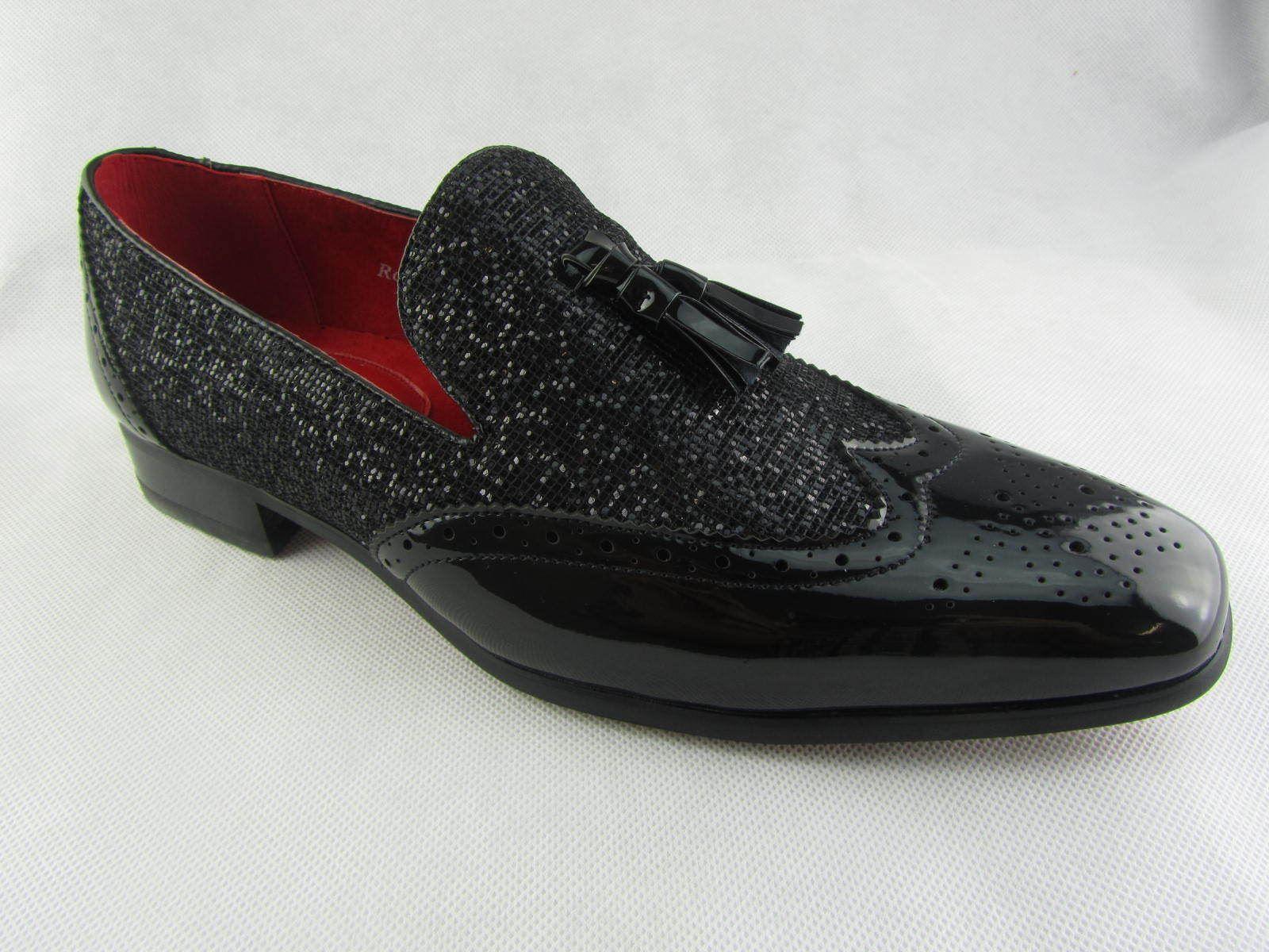 Rossellini Parker Mens Moccasin Shoes Black Blu Patent Loafer Tussle