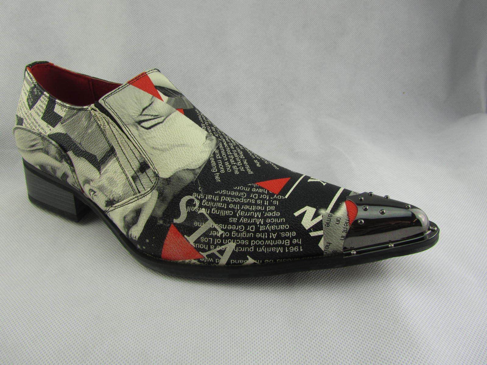 con pelle fodera punta scarpe a in Rock Mens Rossellini Multicolor Marilyn New News qXICZ
