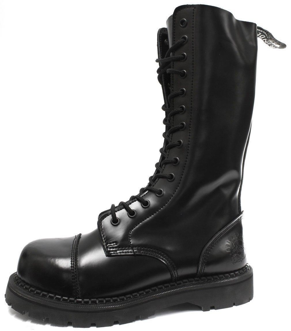 Grinders Herald nuovi anfibi in pelle pelle in nera in acciaio di sicurezza Cap Punk Rock 7f05b4