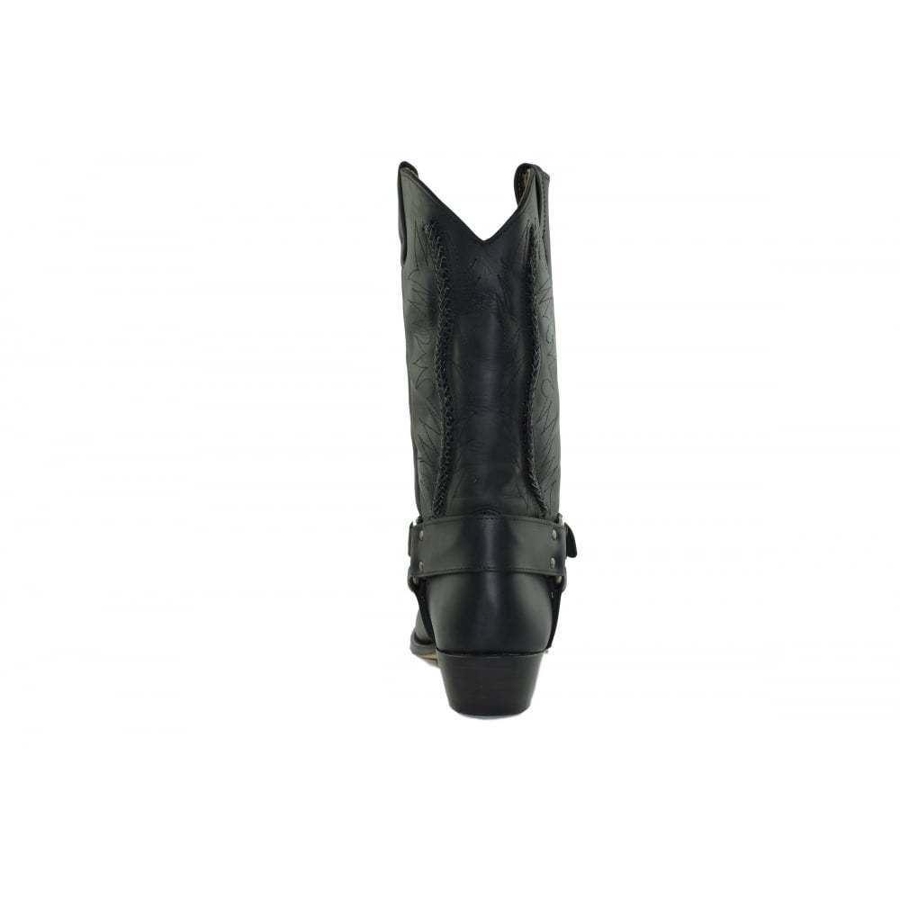 Loblan 2476 Negro Cuero hecho ceroso botas de vaquero hecho Cuero a mano Clásico Unisex Occidental c775f4