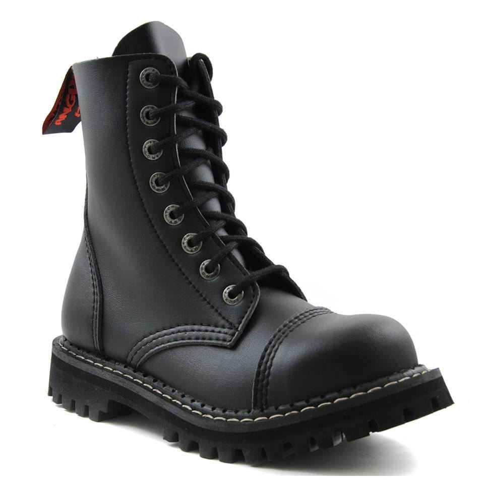 Itch a Vintage Angry Combat 8 perforata Boots acciaio a Black Leather fori punta Punta qPCfCd
