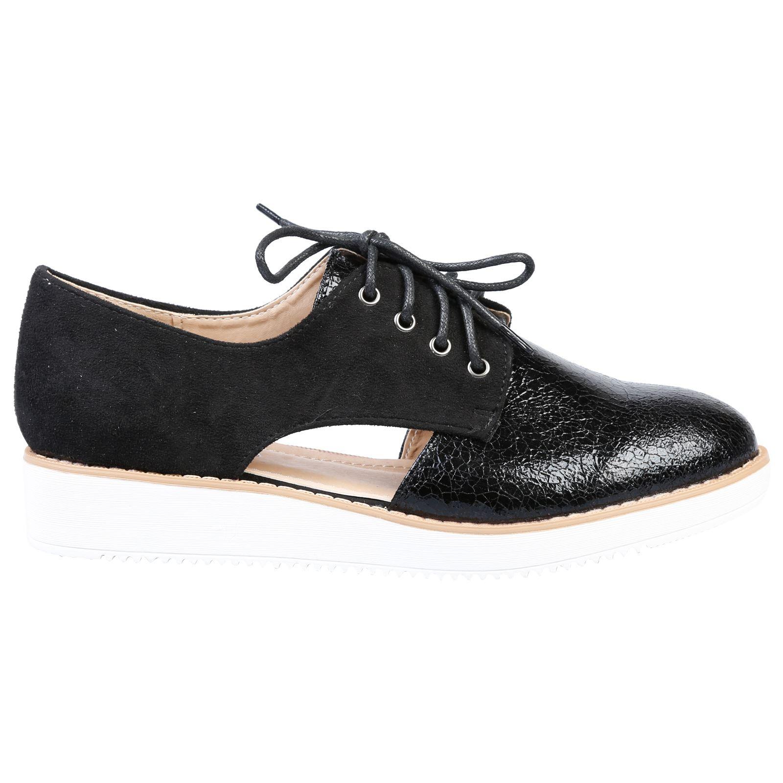 Loretta Womens Flats Low Heels Flatform Brogues Ladies Lace Up Oxford Shoes Size