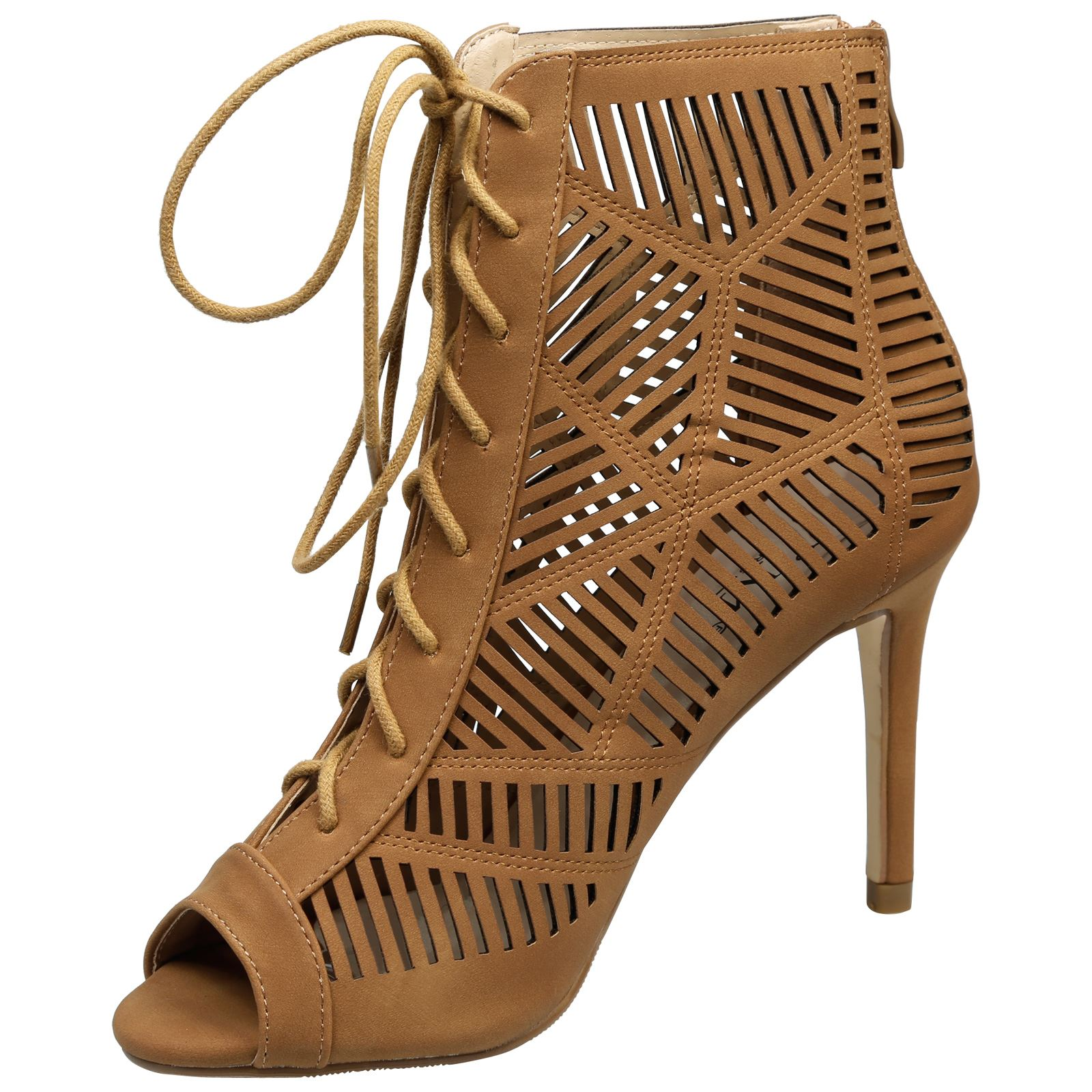Anais-Womens-High-Heels-Stilettos-Lace-Up-Peep-Toe-Ankle-Boots-Ladies-Shoes-Size thumbnail 8