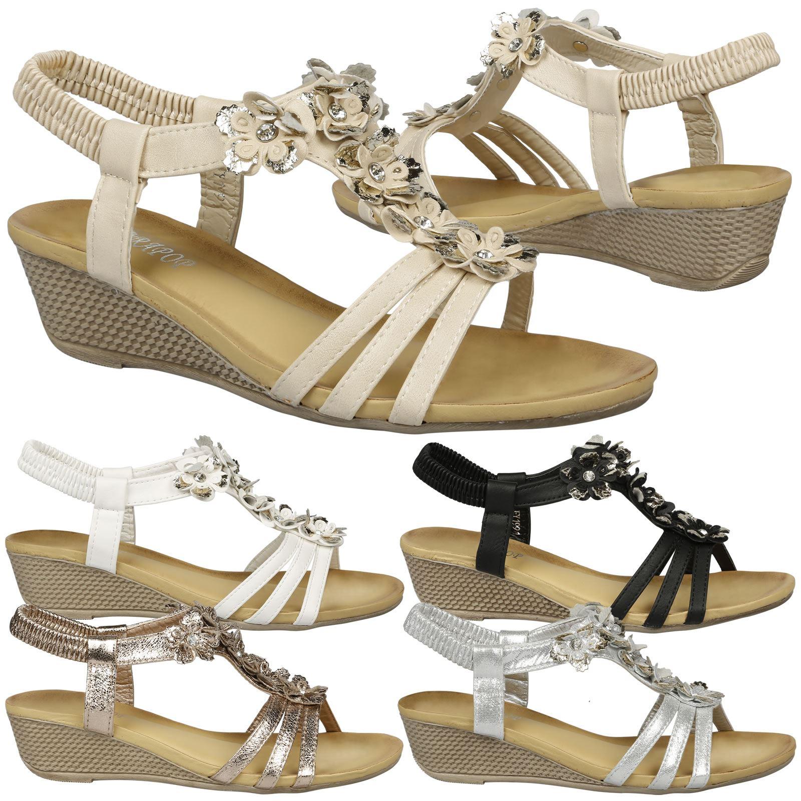 23c51aada Details about Leilani Womens Low Wedges Heels Floral T Bar Sandals Ladies  Open Toe Beach Shoes