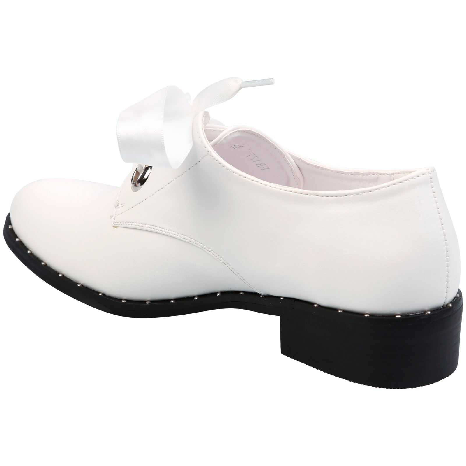 Daena-Womens-Flat-Low-Heel-Satin-Ribbon-Lace-Up-Brogues-Ladies-Oxford-Shoes-Size