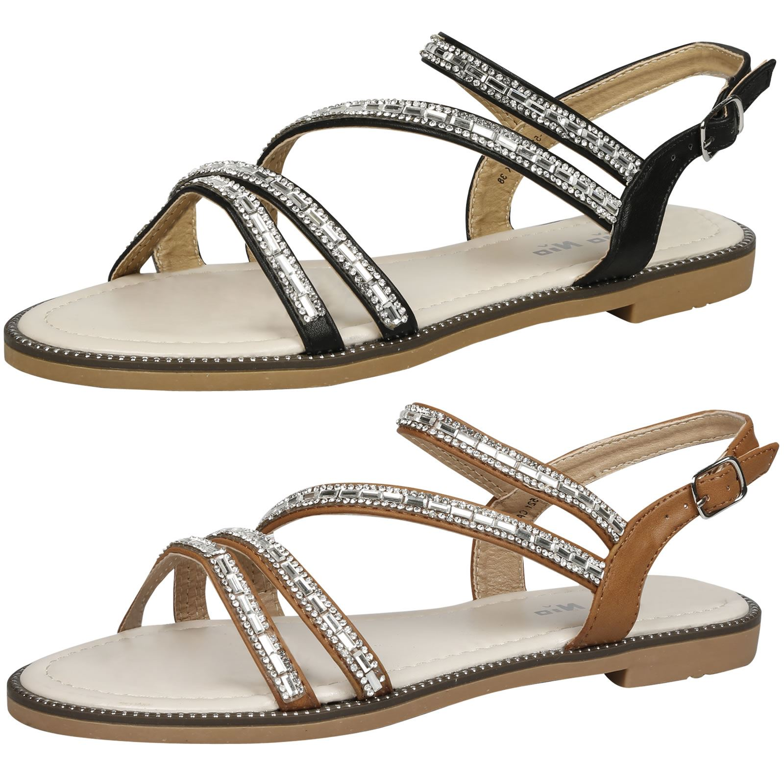 d7a325e8c9106 WOMENS SHOES LADIES SANDALS CRYSTAL DIAMANTE SUMMER DRESSY EVENING CASUAL  STYLE