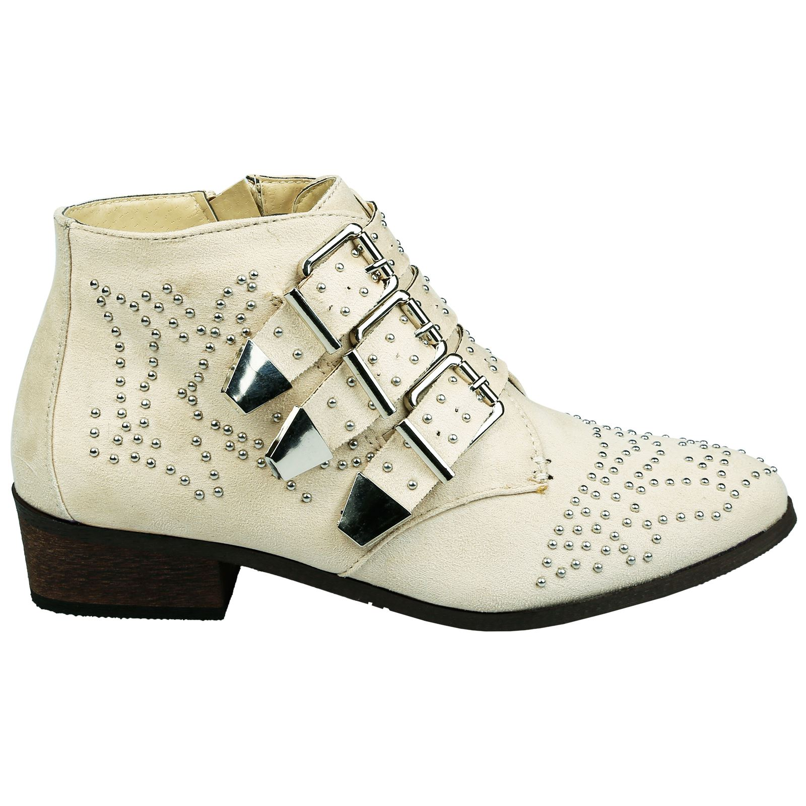 Liv-Womens-Flats-Low-Heels-Buckle-Strappy-Biker-Ankle-Boots-Ladies-Shoes-Studded thumbnail 3