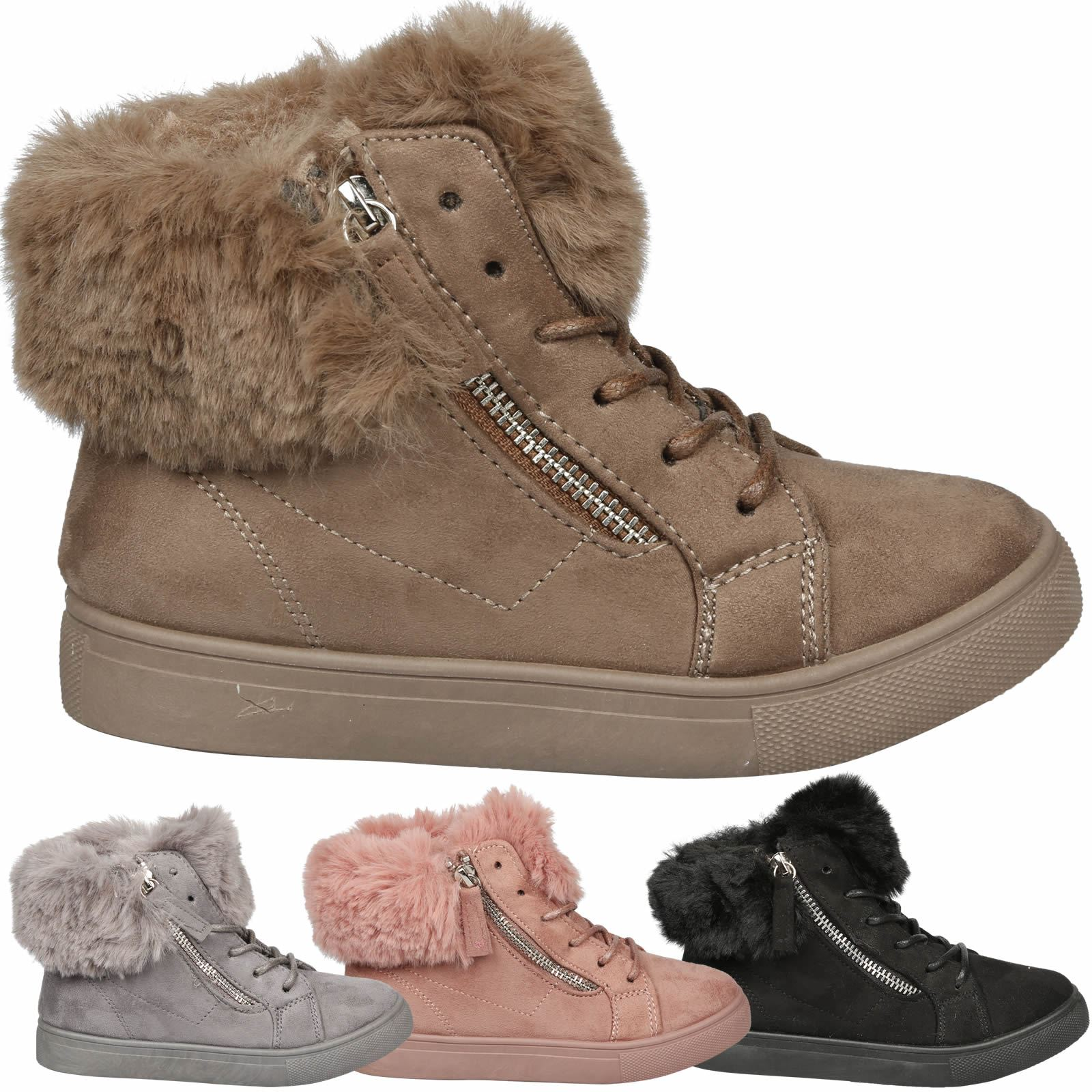d1877fdec75bff Desiree Girls Fur Lined Zip Detail Lace Up Platform Ankle Boots Trainers  Pumps