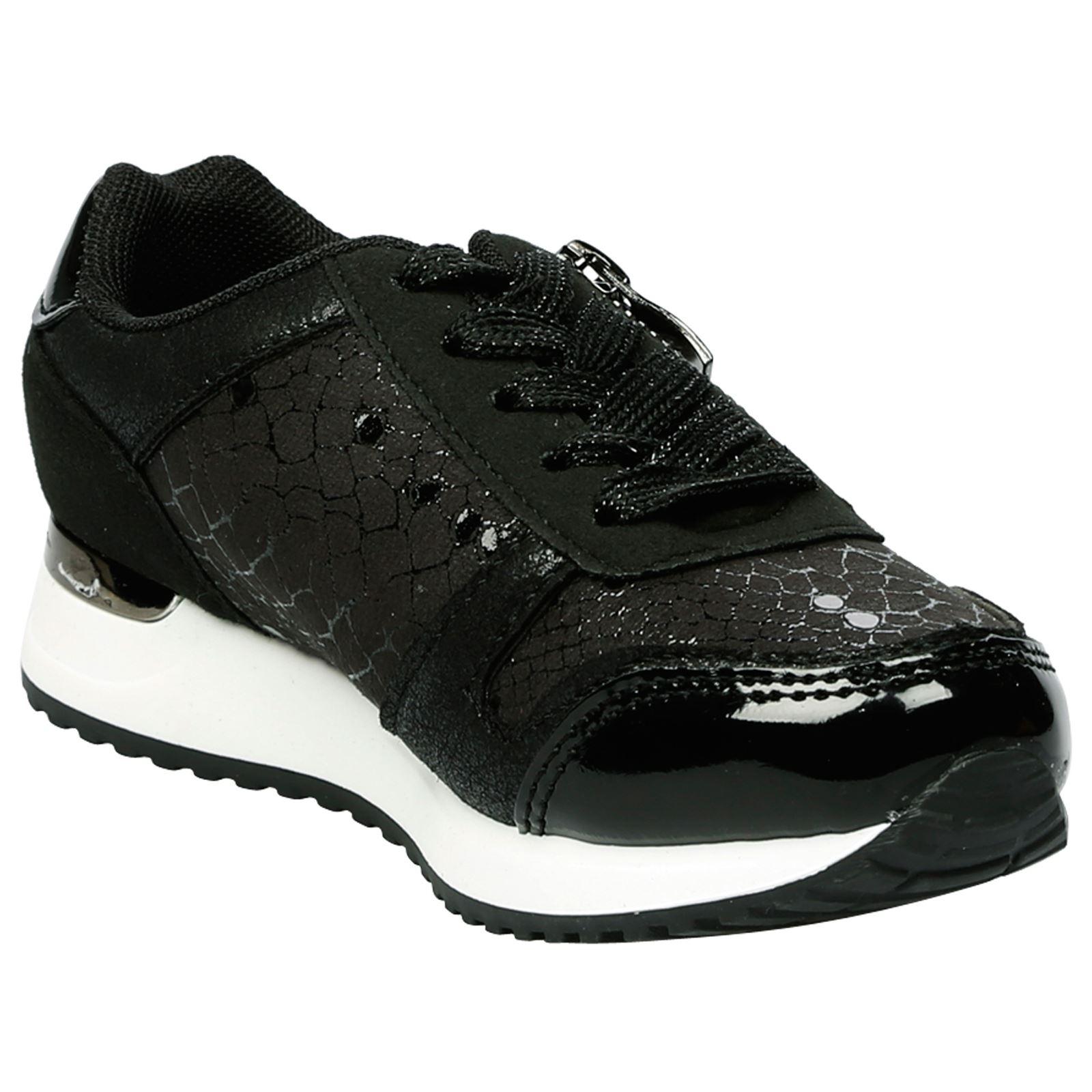 Niños Niñas Con Cordones Zapatillas Sneakers Tamaño De Estilo Escolar Deportiva Brillo Bombas Nuevo