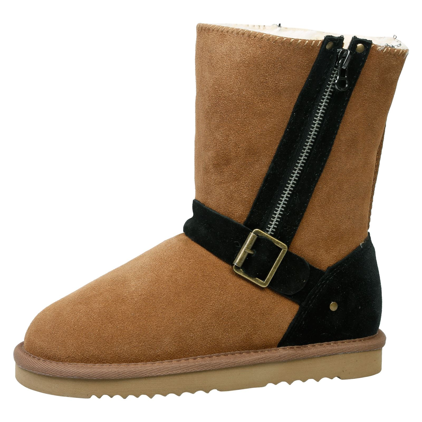 Alicia-Womens-Flats-Low-Heels-Fur-Lined-Ankle-Boots-Ladies-Shoes-Buckle-Size-New
