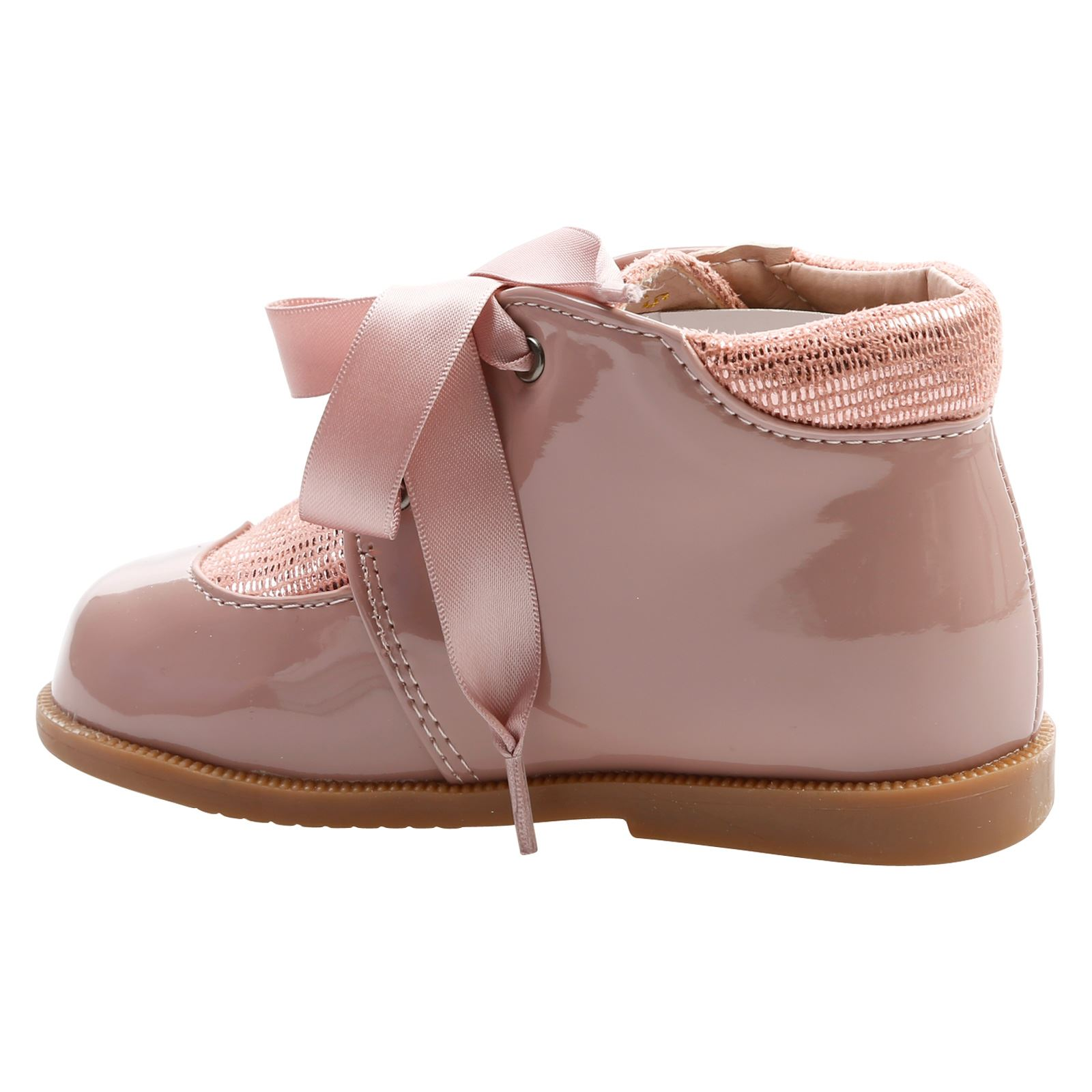 Harper Girls Toddlers Flats Low Heel Satin Ribbon Lace Up Ankle Boots Shoes Size