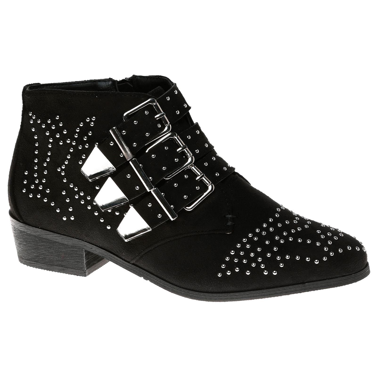 7de102fc256 Womens Flats Low HEELS Buckle Strappy Biker Ankle BOOTS Ladies Shoes ...