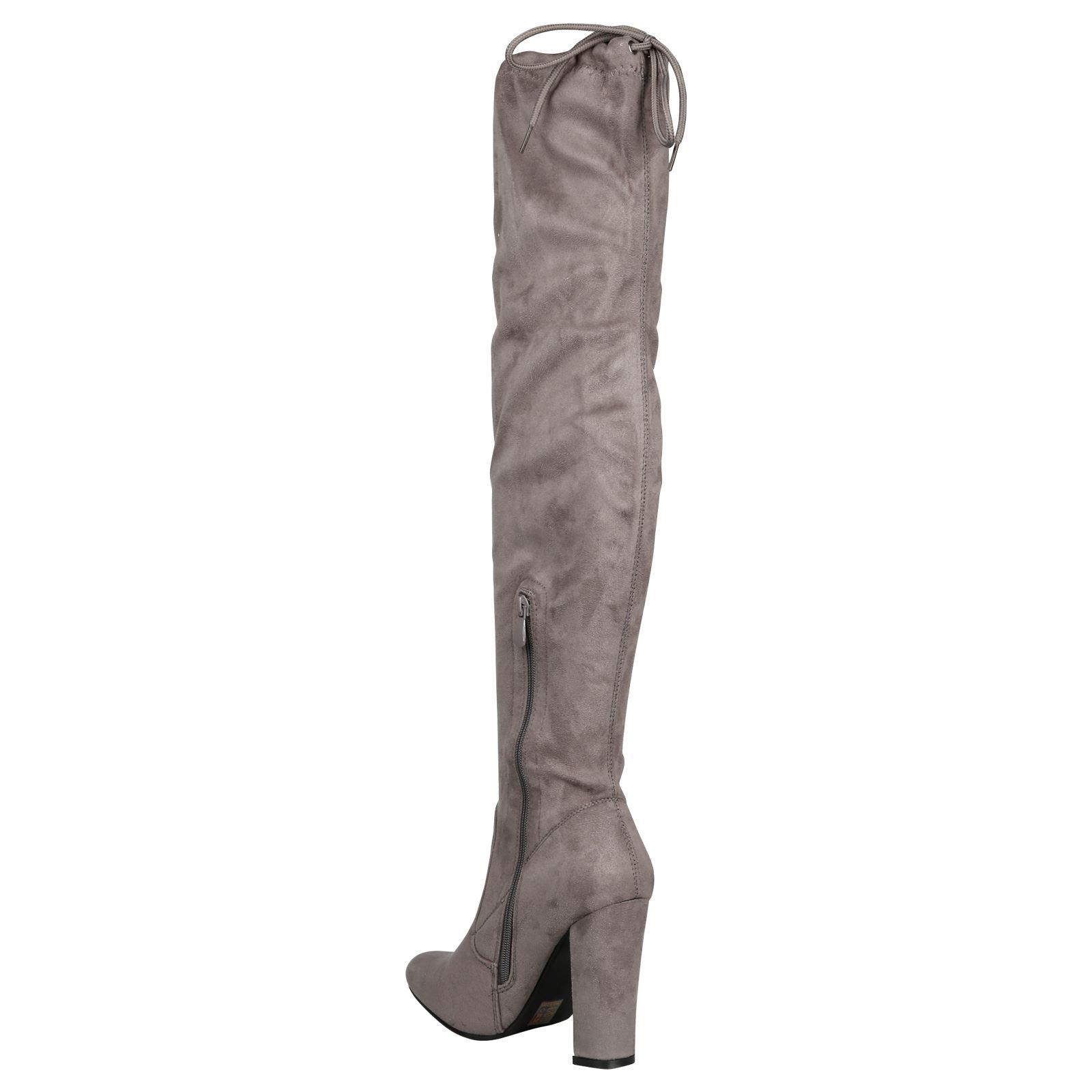 Iliana-Womens-Knee-High-Zip-Up-Adjustable-Pull-Strings-Mid-High-Block-Heel-Boots thumbnail 13