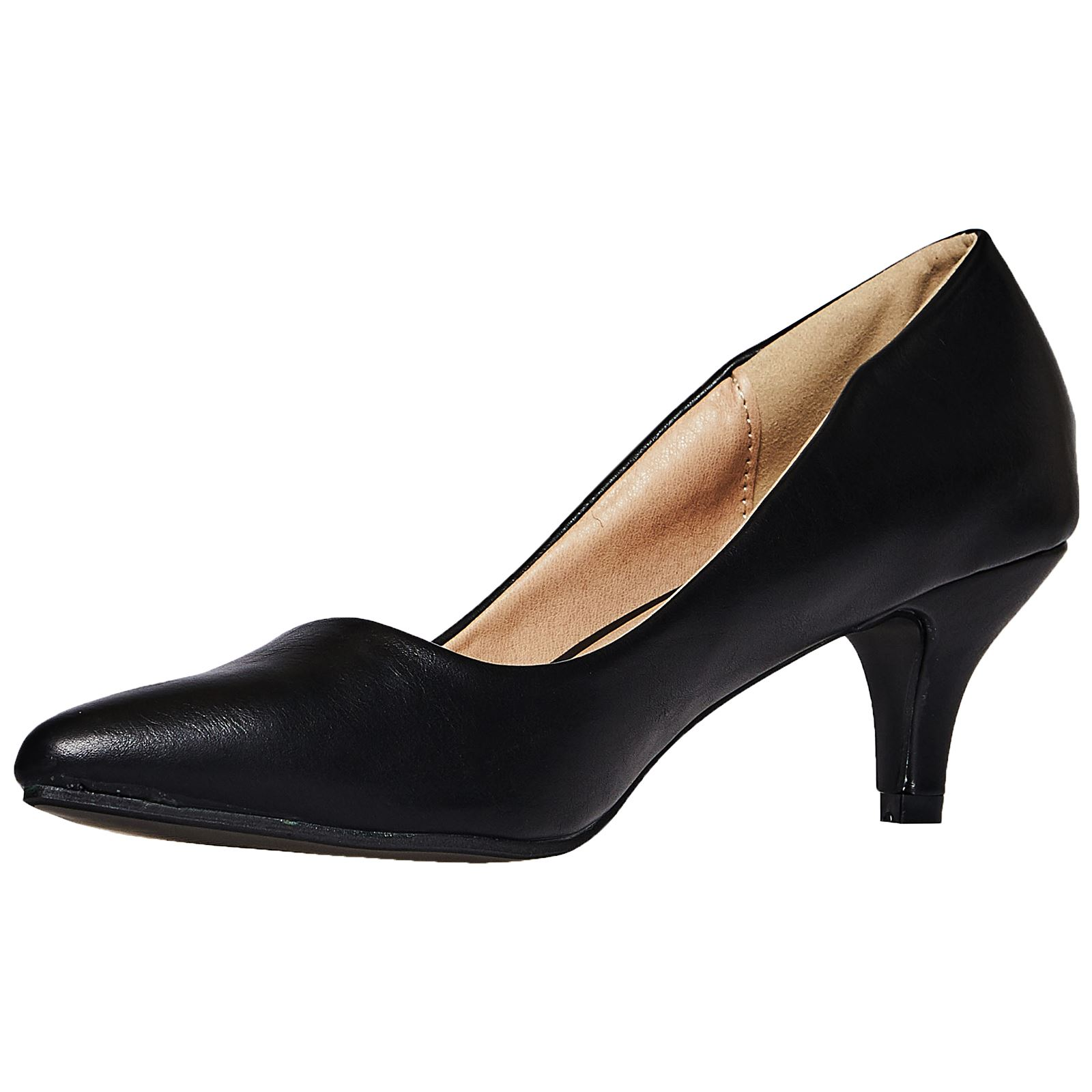 e6973915720b5 Miranda Womens Low Mid Kitten Heels Slip On Court Shoes Ladies Pumps ...