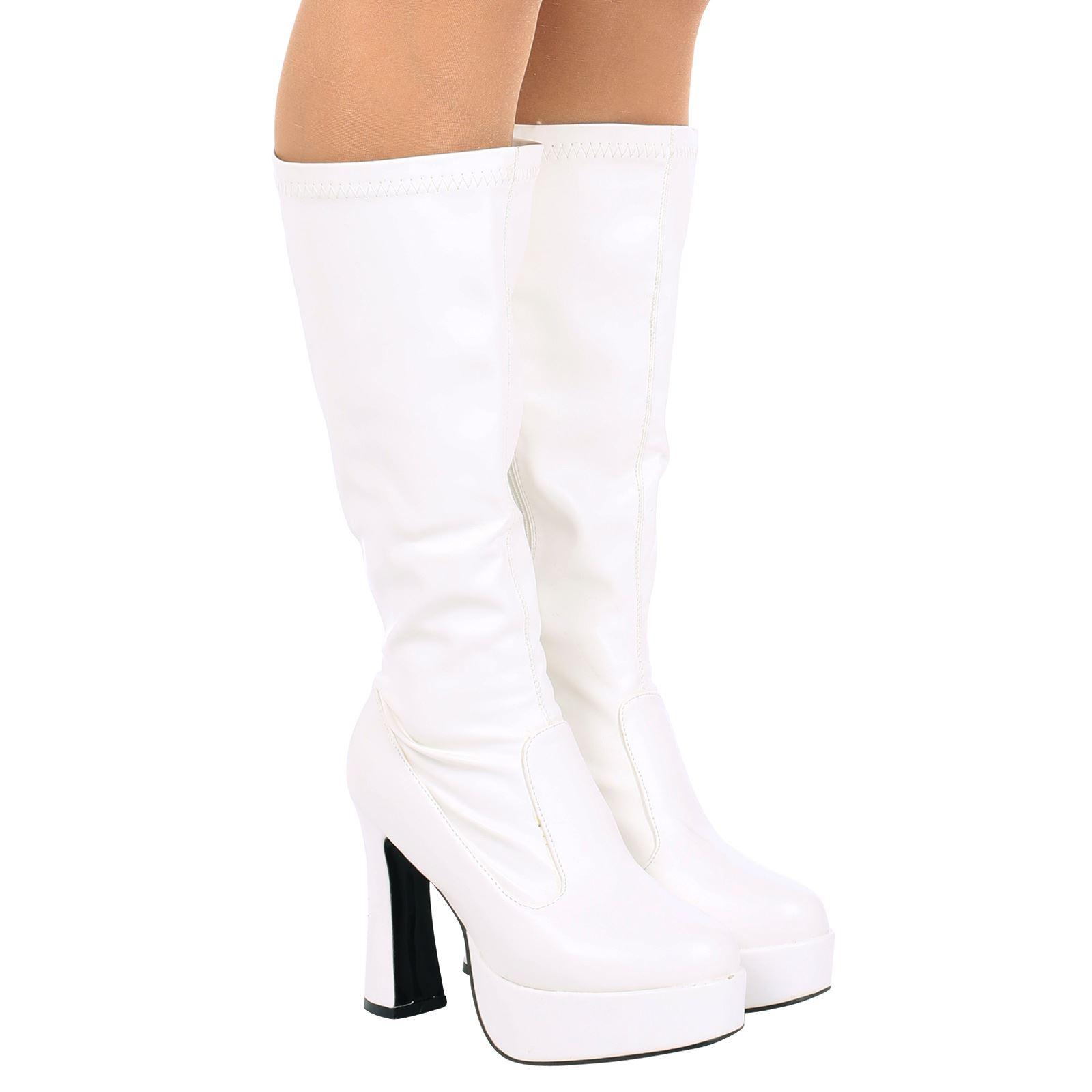 Fancy dress white boots.