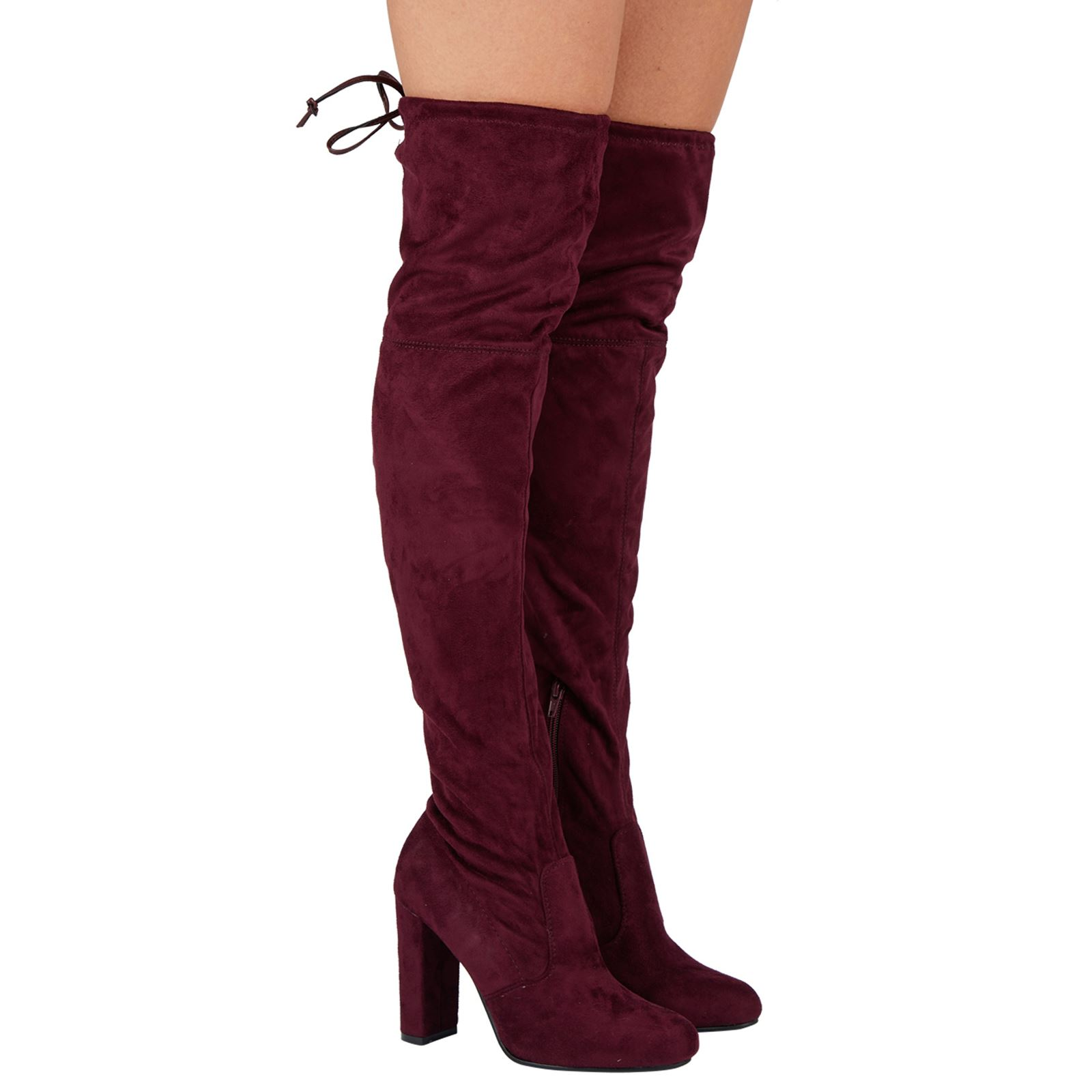 Jazz-Womens-Mid-High-Block-Heel-Over-Knee-Tie-Top-Boots-Ladies-Shoes-Stretch-New