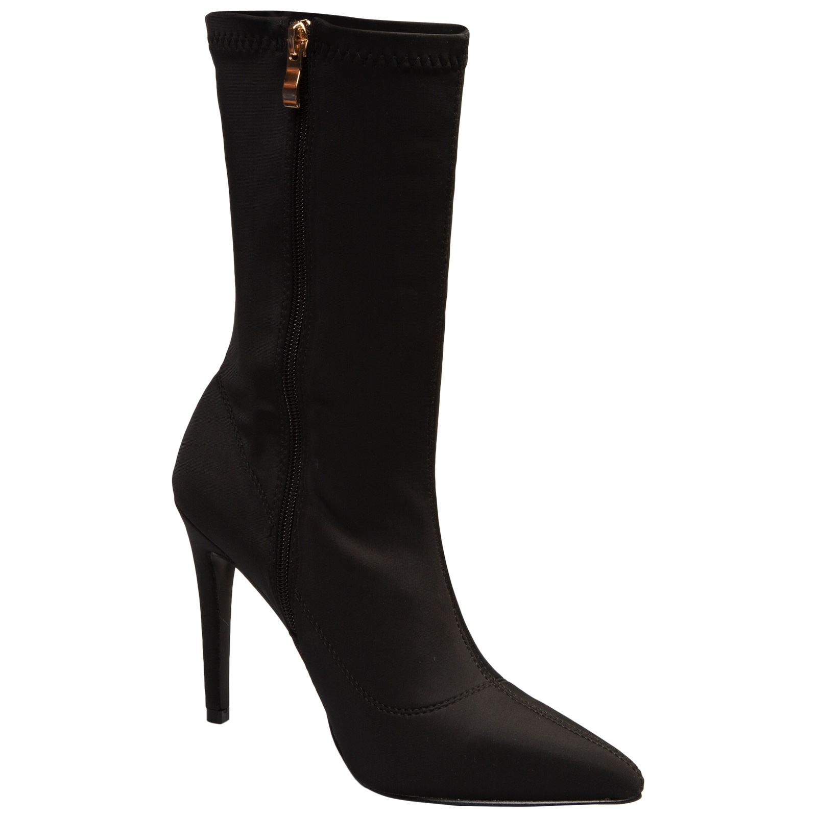 NEW-WOMENS-SHOES-LADIES-ANKLE-BOOTS-ZIP-UP-STRETCH-CALF-STILETTO-FASHION-CASUAL thumbnail 5