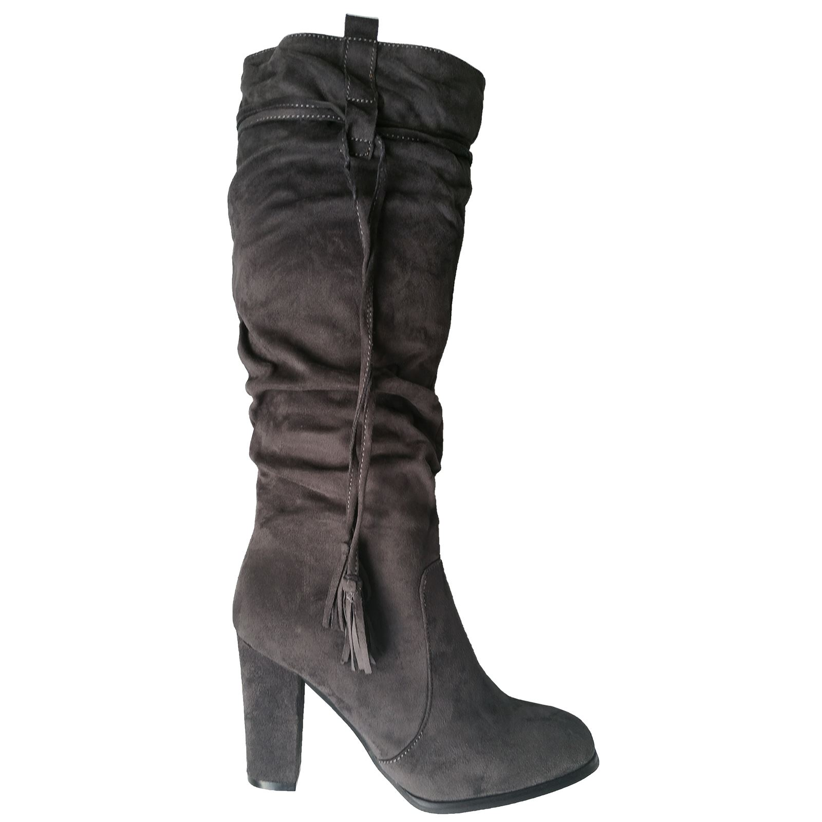 Melanie Womens Block Heel Under Knee High Boots Ladies Ruched Slouch ... 6acd36019a