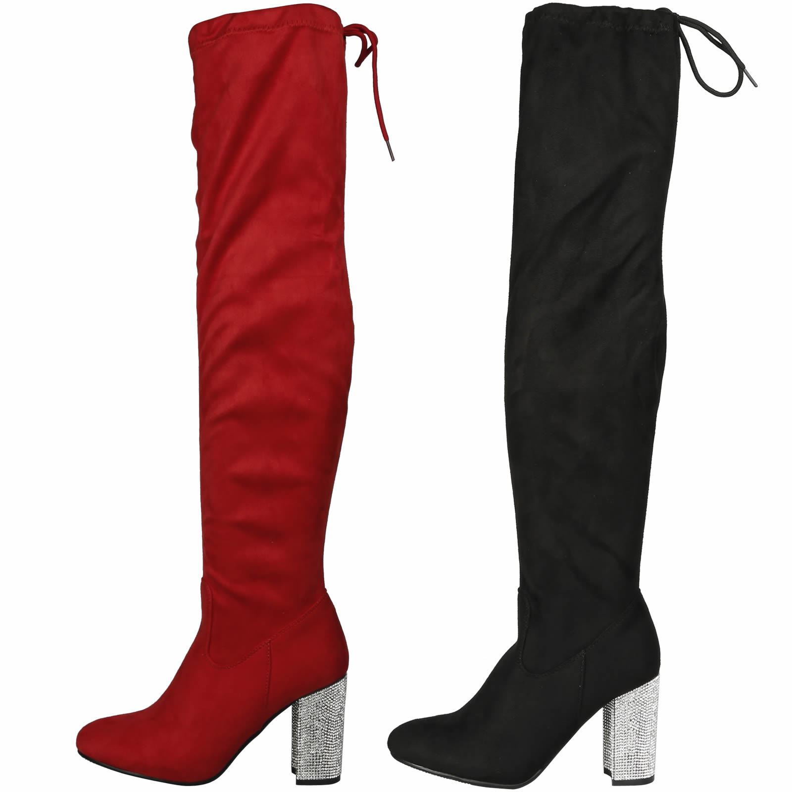 ee87b4127a6 Details about NEW WOMENS SHOES LADIES DIAMANTE MID HIGH BLOCK HEEL KNEE  HIGH BOOTS CASUAL SIZE