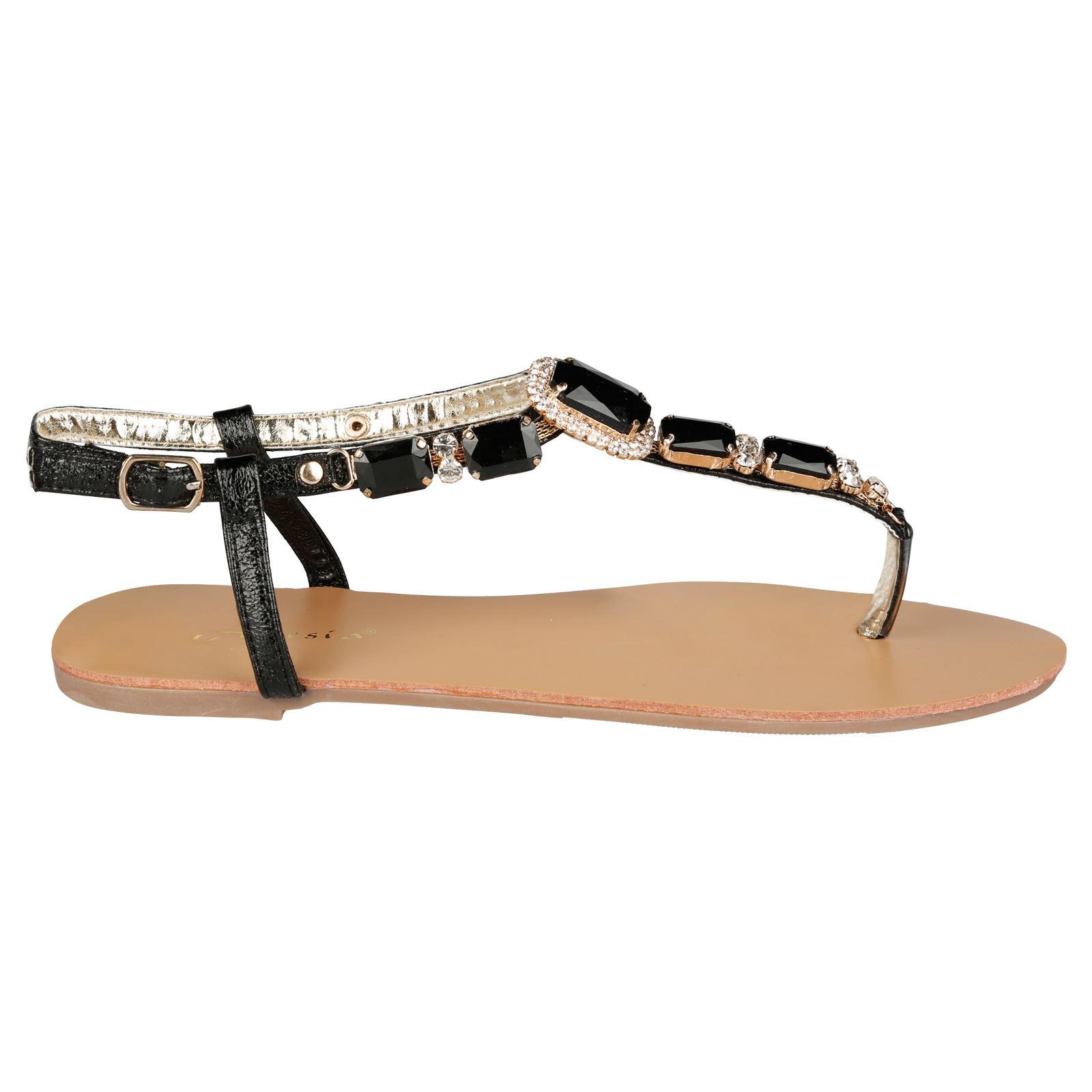 a4da9da756c Zola Womens Flats Low Heels Toe Strap Thong Sandals Ladies Gem Style ...