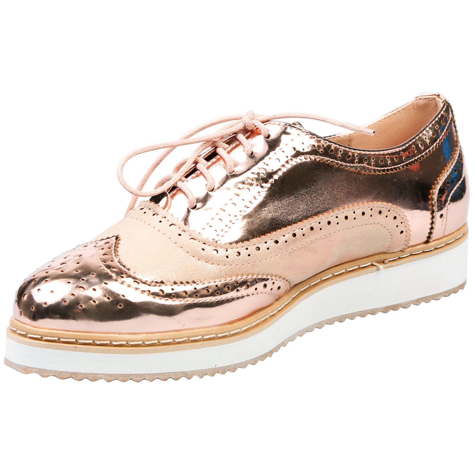Bridget-Womens-Flats-Low-Heel-Wedges-Flatforms-Lace-Up-Brogues-Ladies-Shoes-Size