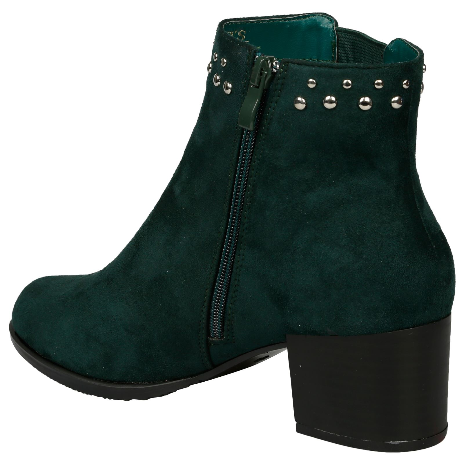 Luna-Womens-Low-Mid-Block-Heel-Studded-Chelsea-Zip-Up-Ankle-Boots-Casual-Ladies thumbnail 13