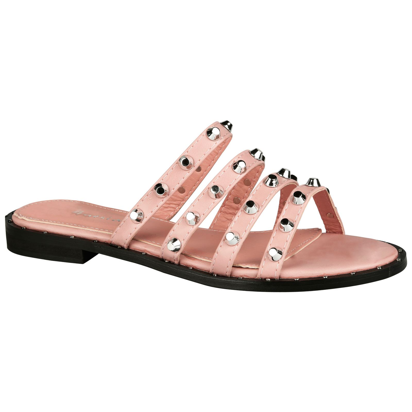 41badb71a537 Vita Womens Flats Low HEELS Slip on Studded Sandals Ladies Sliders ...