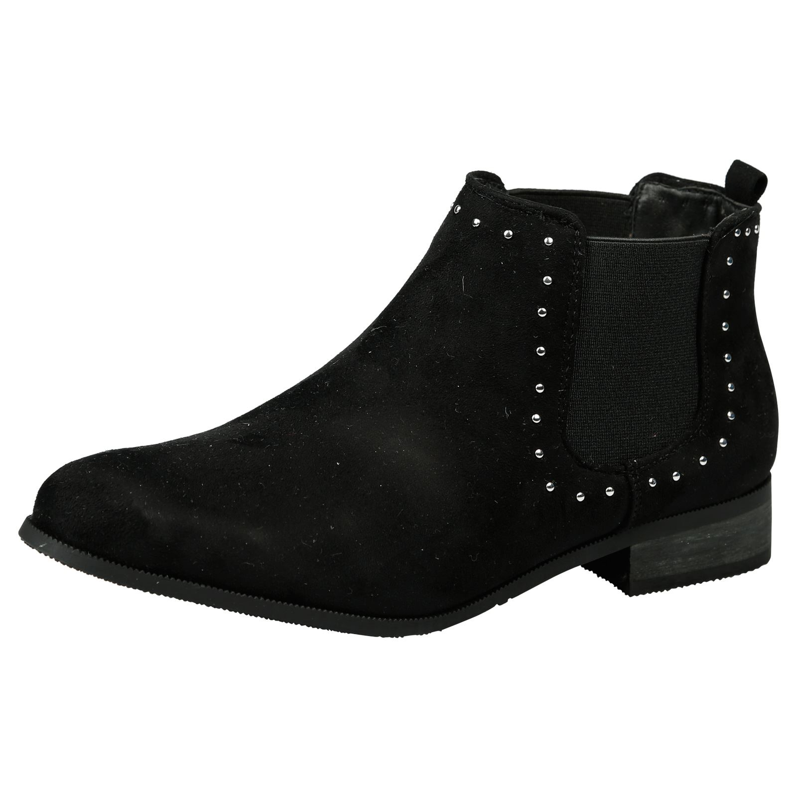 Mujer Botas al Tobillo Zapatos al tobillo señoras Tachonado Tacón Bajo Chelsea Tirar De Tamaño Nuevo