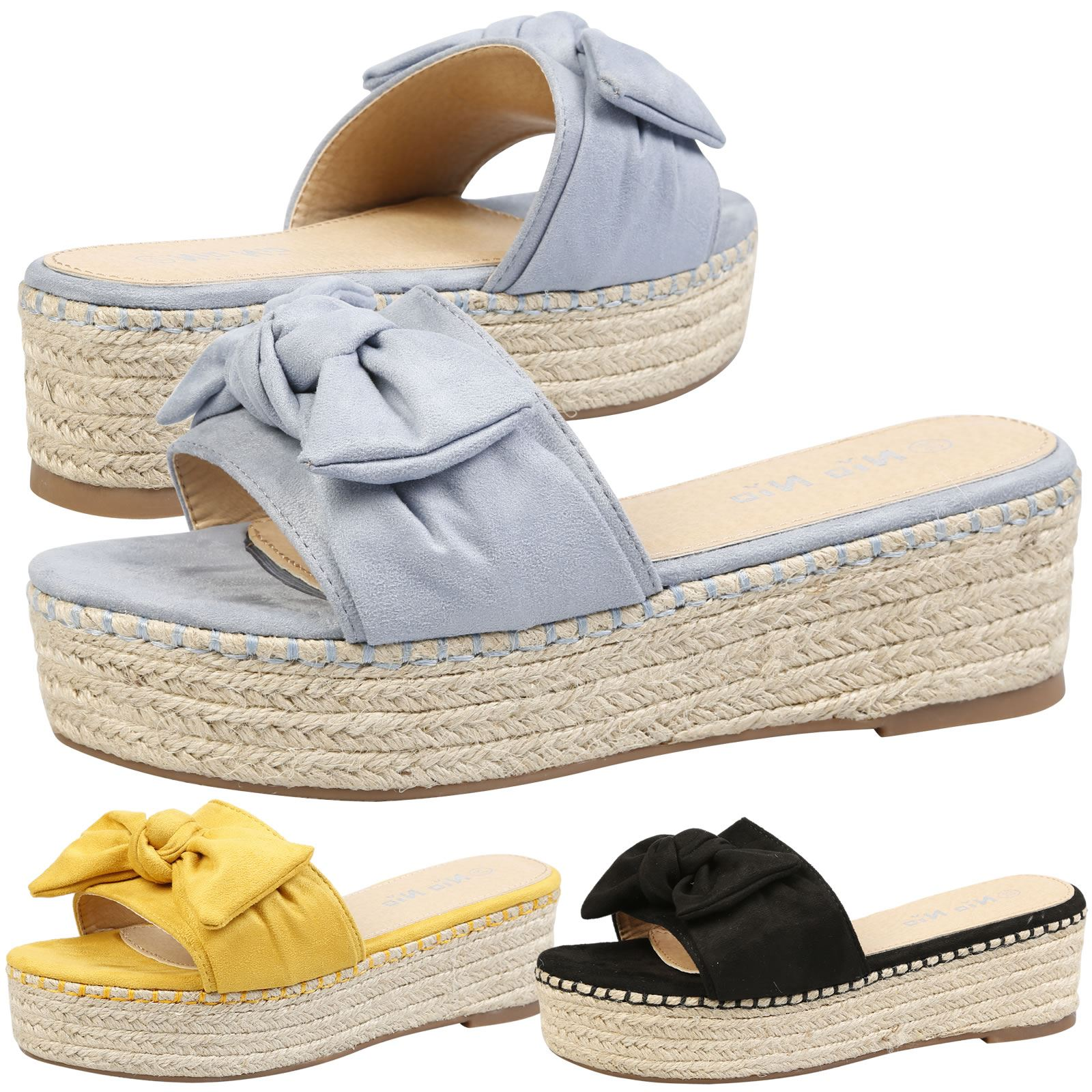 WOMENS SHOES LADIES SANDALS SLIDERS MULES WEDGES PLATFORM BOW ESPADRILLES SUMMER
