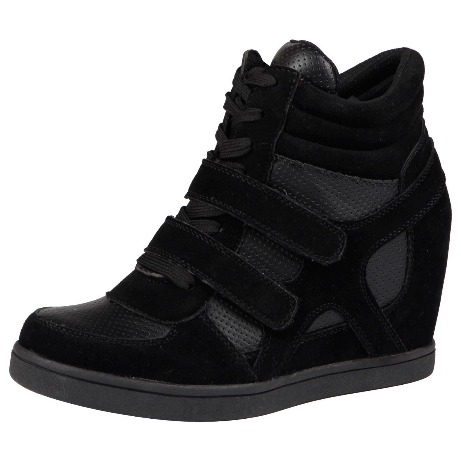Silver Hidden Wedge Trainers Boots Hi Tops Sneakers Plimsolls UK 3 4 5 6 7 NEW