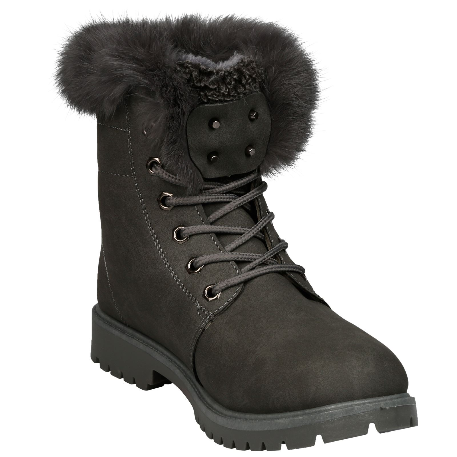 NEW-WOMEN-SHOES-LADIES-FUR-LINED-LOW-HEEL-LACE-UP-ANKLE-BOOTS-CASUAL-STYLE-SIZE thumbnail 21