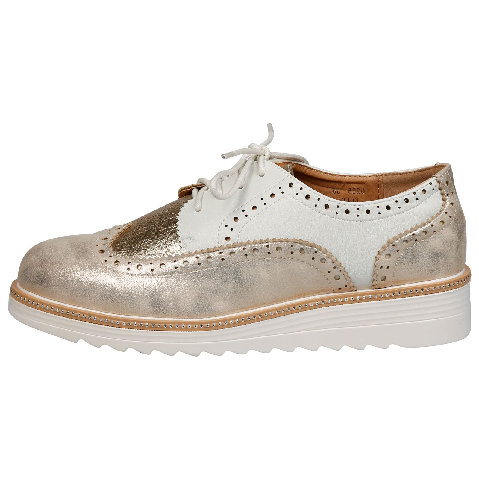 WOMENS SHOES LADIES LACE UPS BROGUES OXFORDS STUDDED LOW WEDGE FLATFORM SIZE NEW