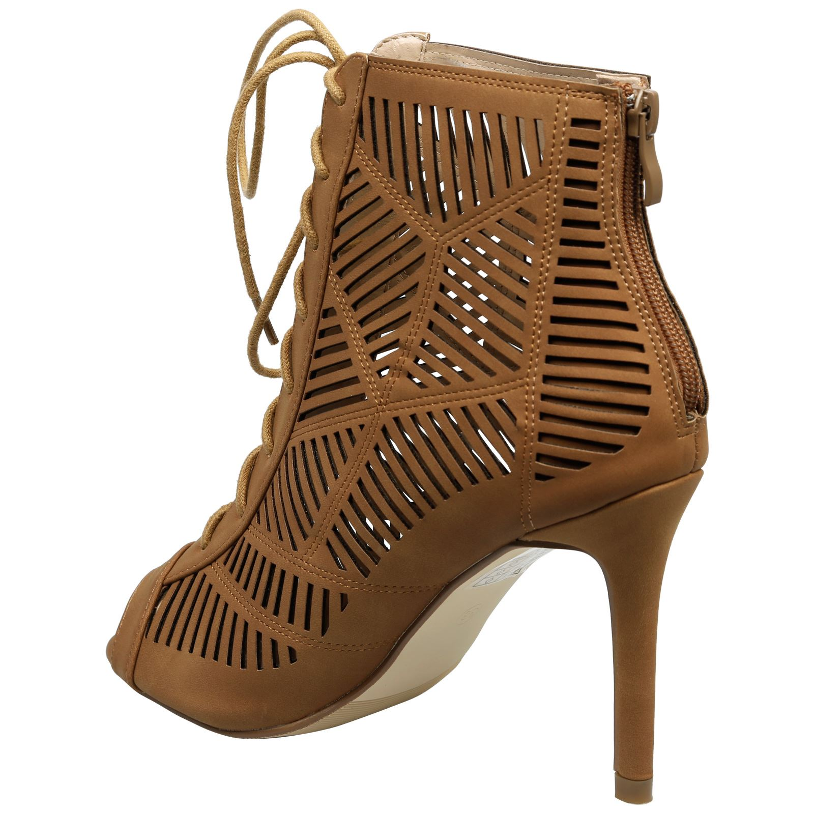 Anais-Womens-High-Heels-Stilettos-Lace-Up-Peep-Toe-Ankle-Boots-Ladies-Shoes-Size thumbnail 9