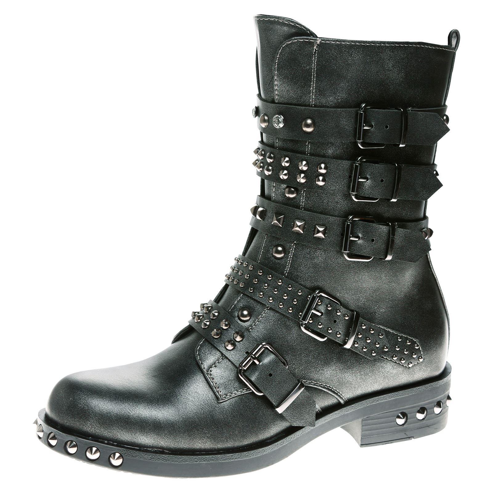 bottes bottines femme clout es boucle western motard. Black Bedroom Furniture Sets. Home Design Ideas