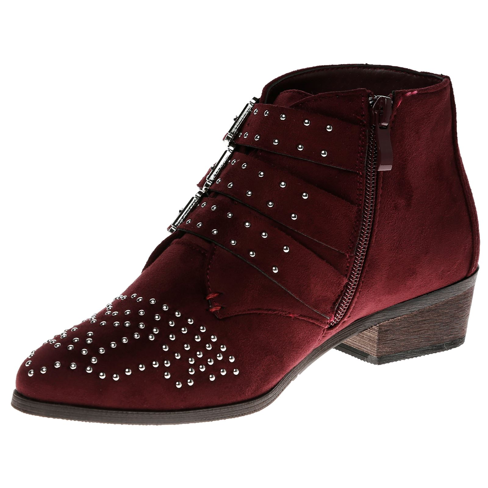 Liv-Womens-Flats-Low-Heels-Buckle-Strappy-Biker-Ankle-Boots-Ladies-Shoes-Studded thumbnail 32