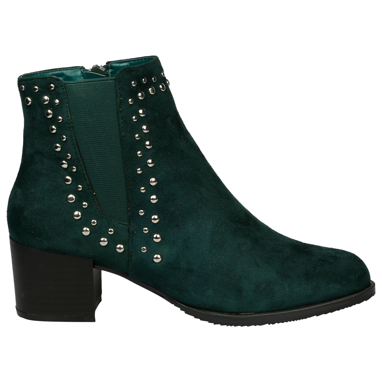 Luna-Womens-Low-Mid-Block-Heel-Studded-Chelsea-Zip-Up-Ankle-Boots-Casual-Ladies thumbnail 11