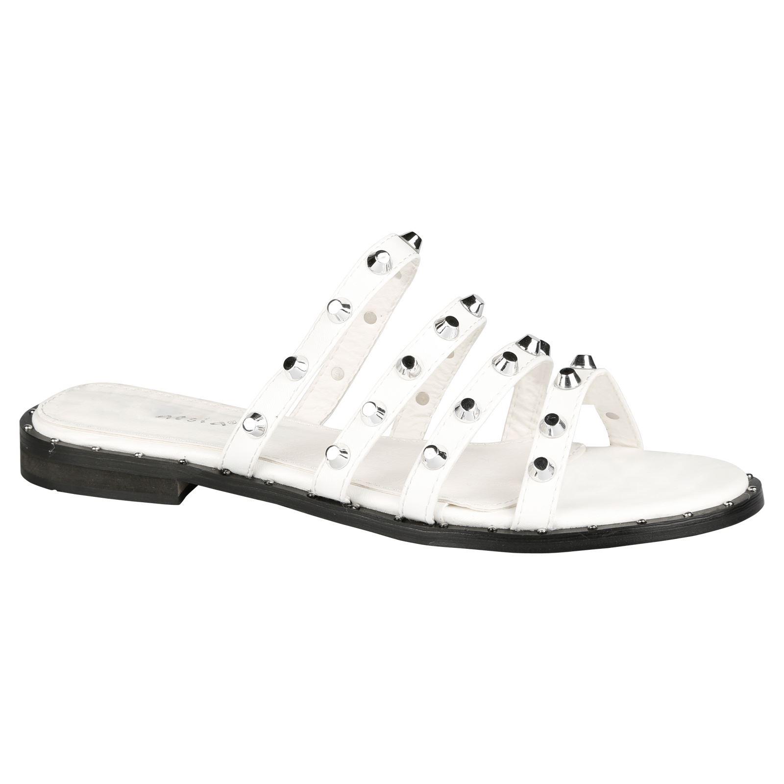 a481b988fda4 Vita Womens Flats Low Heels Slip On Studded Sandals Ladies Sliders Open Toe  Size  Picture 2 of 5 ...