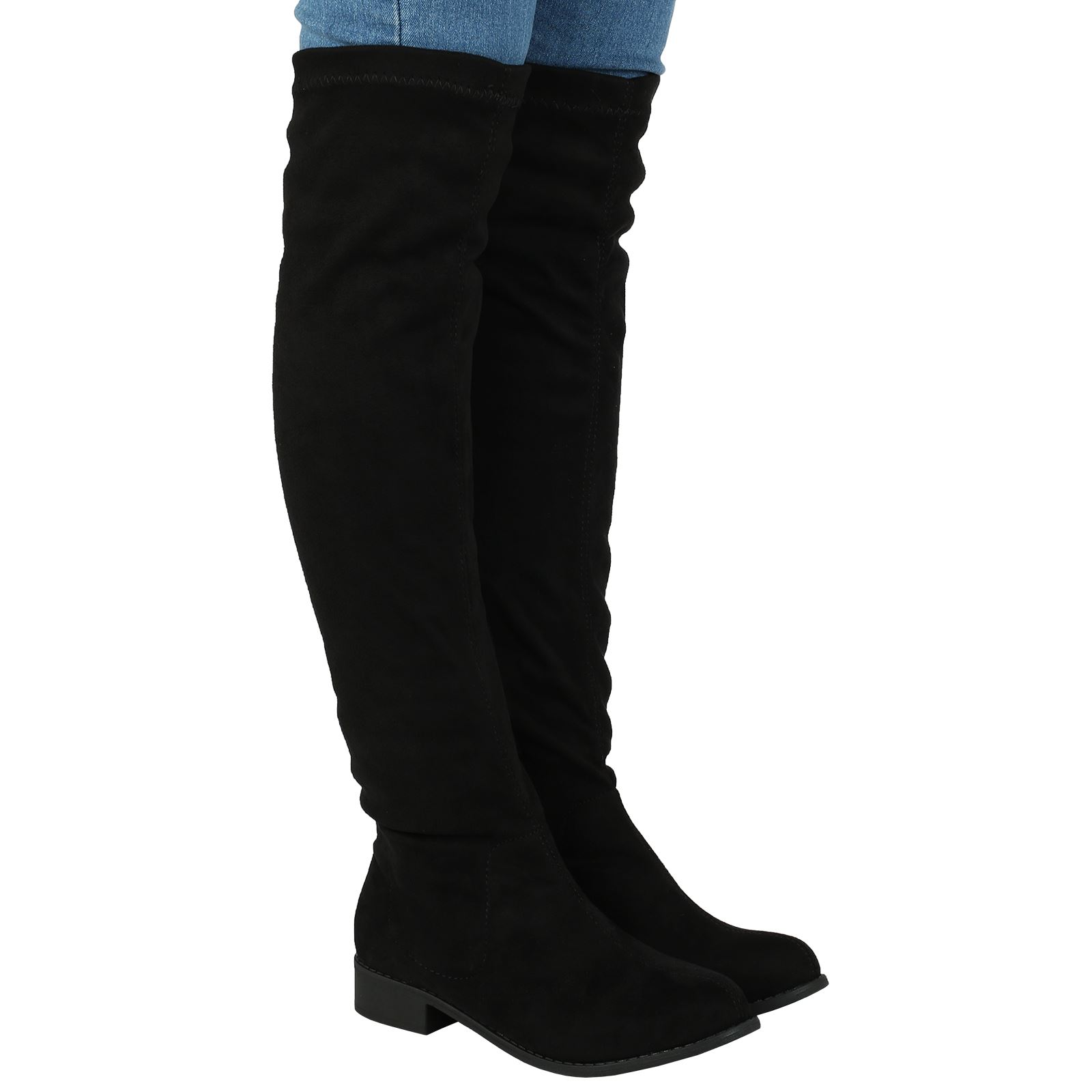 new womens low heels stretch knee high boots