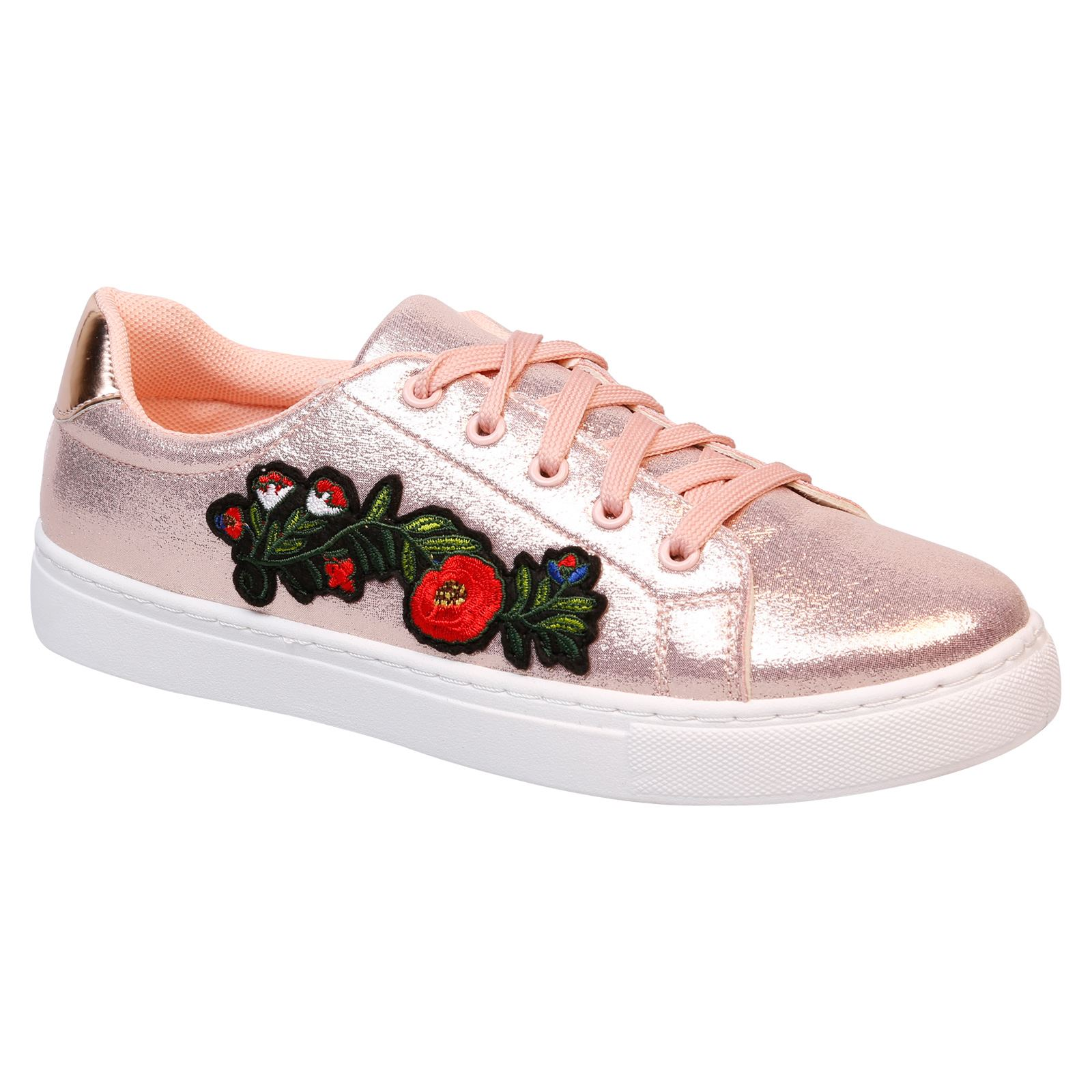 Halle Womens Flats Low Heels Lace Up Skater Trainers Floral Ladies Shoes Size