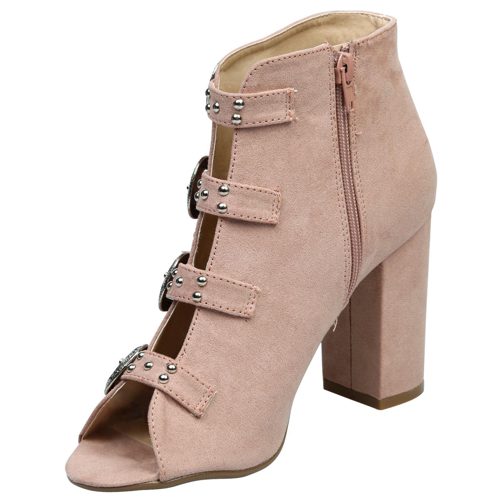 Nami-Mujer-Mediados-Bloque-talon-Peep-Toe-Hebilla-Alto-Botas-al-Tobillo-Zapatos-De-Las-Senoras
