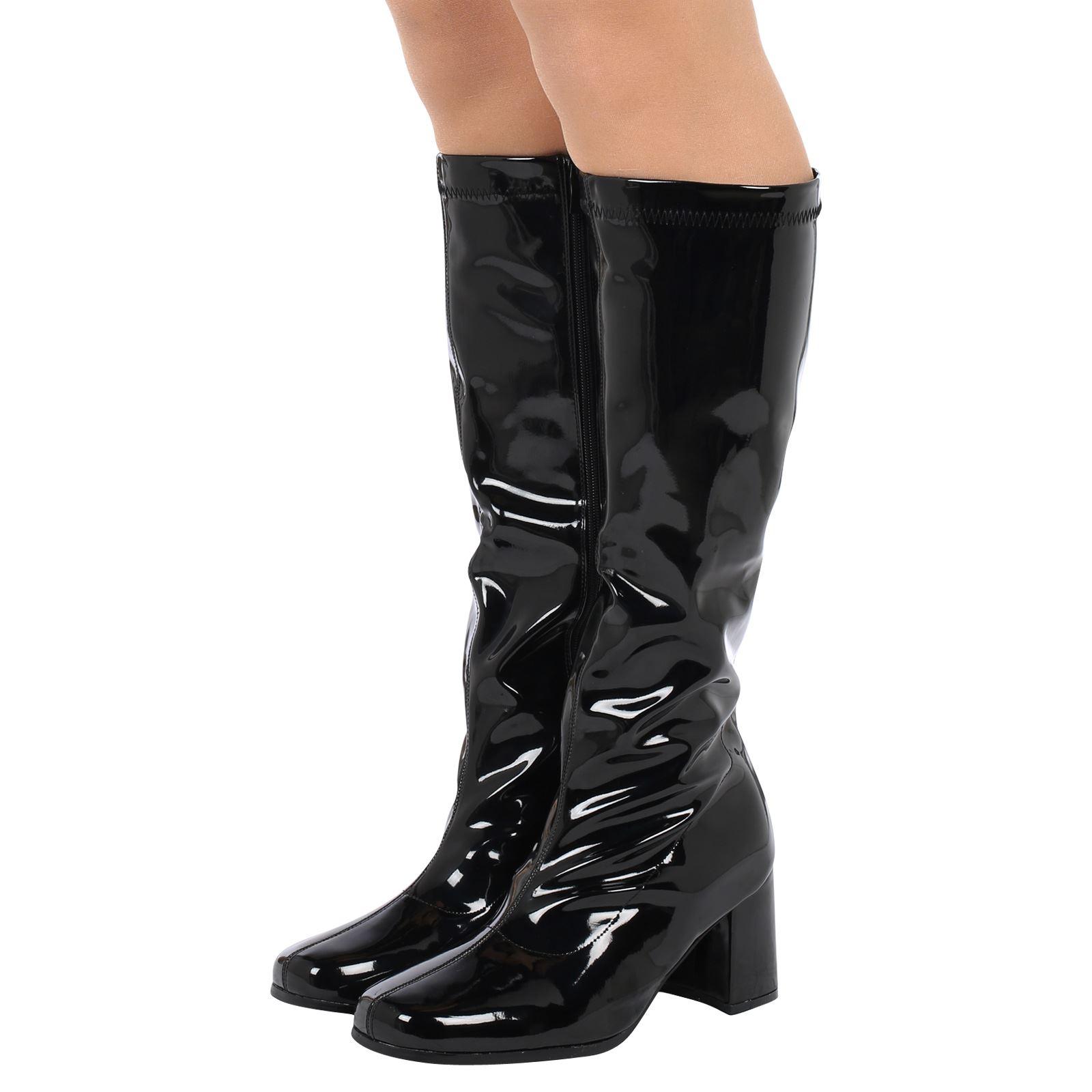 womens boots knee high calf fancy dress gogo 60s