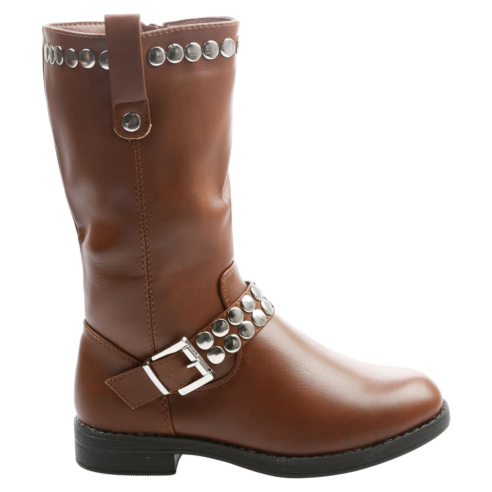 Inga Girls Kids Flat Low Heel Studded Mid Calf Riding Boots Childrens Shoes Size