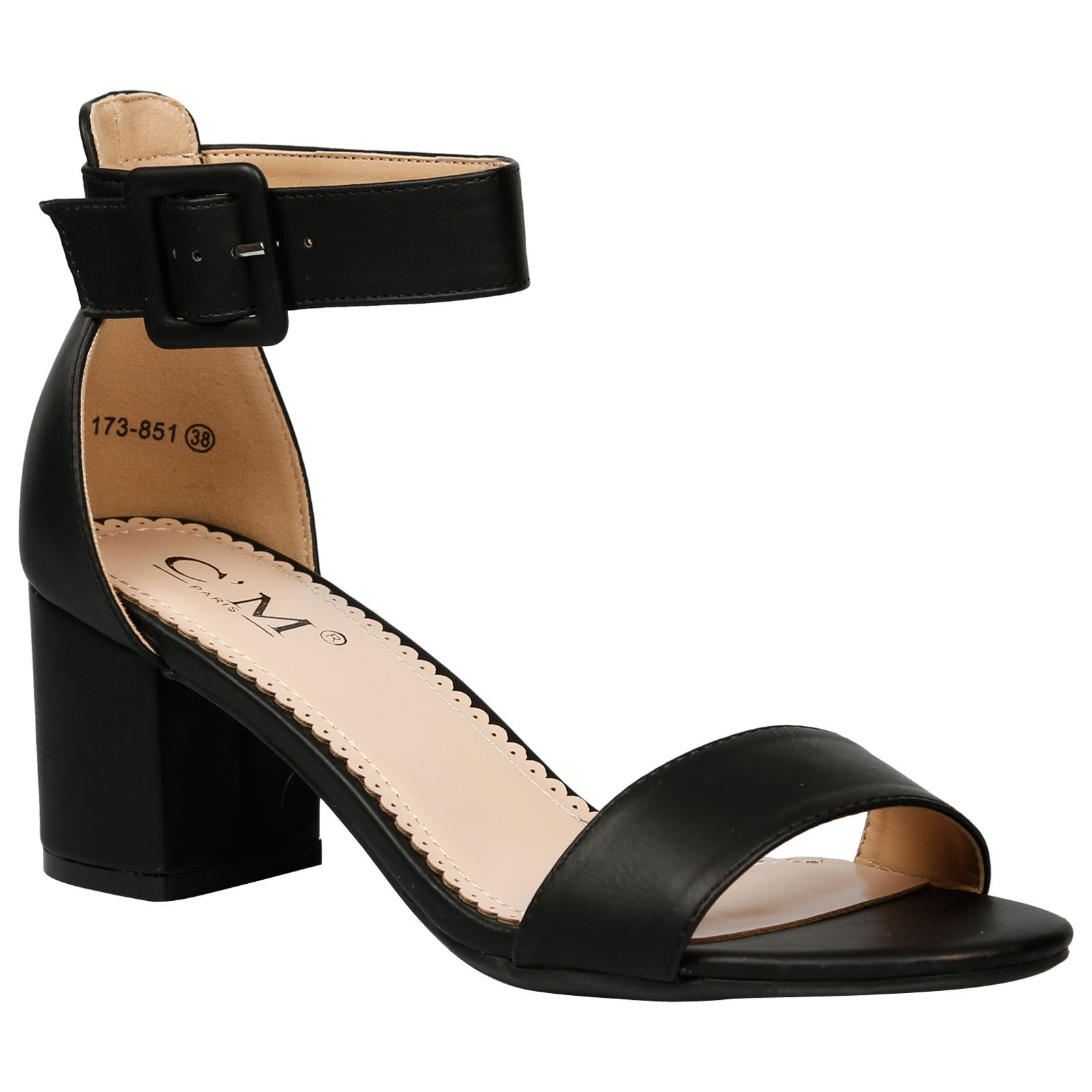 Wilma Ladies Low Mid Block Heel Ankle Strap Open Toe Womens Summer Sandals  Size; Picture 2 of 5 ...